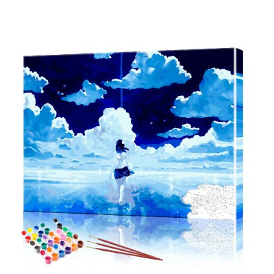 Картина по номерам Аниме - идущая по воде ArtSale размер 40х50 см
