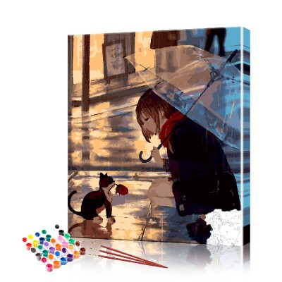 Картина по номерам Аниме - котёнок с розой ArtSale размер 40х50 см