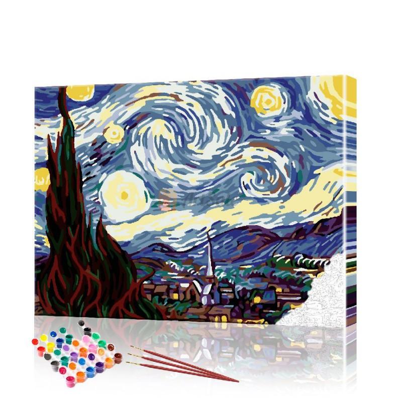 Картина по номерам Ночное небо Ван Гог ArtSale размер 40х50 см