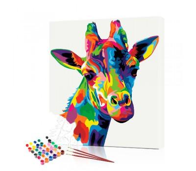 Картина по номерам Цветной жираф ArtSale размер 40х50 см