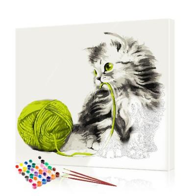 Картина по номерам Котенок с зеленым клубком ArtSale размер 40х40 см