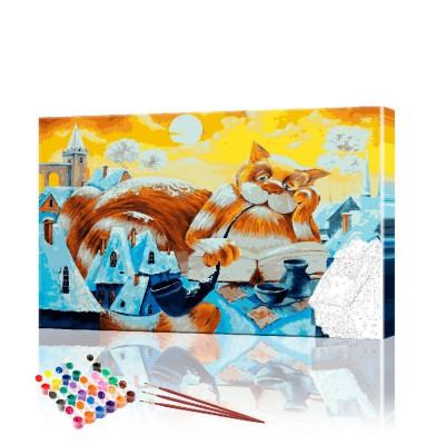 Картина по номерам Кот ученый ArtSale размер 40х60 см