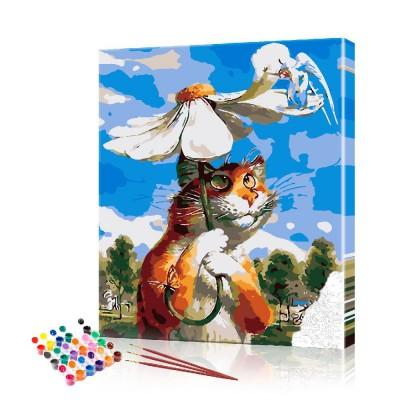Картина по номерам Кот с ромашкой ArtSale размер 40х50 см