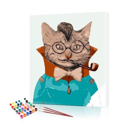 Картина по номерам Кот с трубкой ArtSale размер 40х50 см