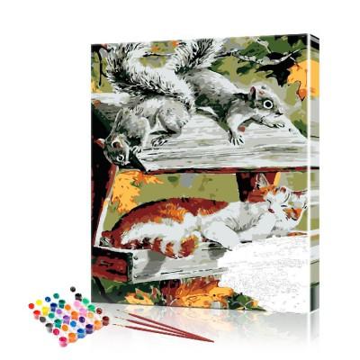 Картина по номерам Кот и белки ArtSale размер 40х50 см