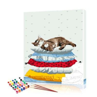 Картина по номерам Кот на подушках ArtSale размер 40х50 см