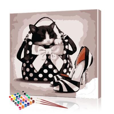 Картина по номерам Кот в женской сумочке ArtSale размер 40х40 см