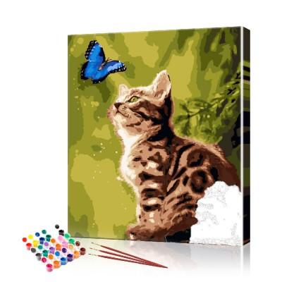 Картина по номерам Котёнок и бабочка ArtSale размер 40х50 см