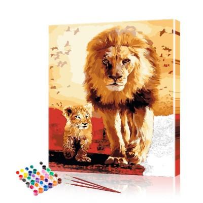 Картина по номерам Лев со львёнком ArtSale размер 40х50 см