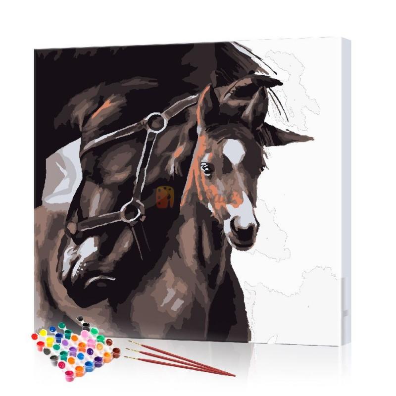 Картина по номерам Пара лошадей ArtSale размер 40х40 см