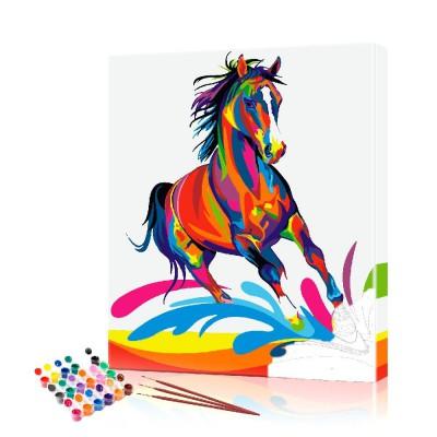 Картина по номерам Цветной конь ArtSale размер 40х50 см