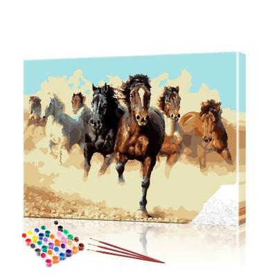 Картина по номерам Степные лошади ArtSale размер 40х50 см
