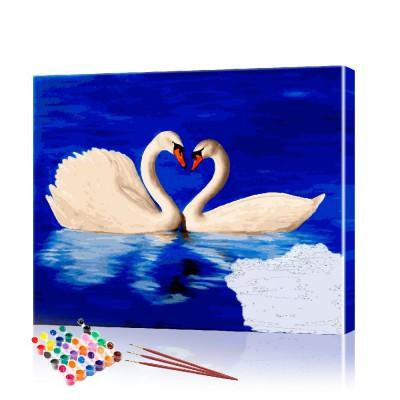 Картина по номерам Лебеди ArtSale размер 40х50 см