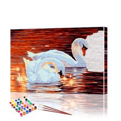 Картина по номерам Лебеди ArtSale размер 40х60 см