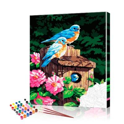 Картина по номерам Голубые птицы ArtSale размер 40х50 см