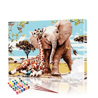 Картина по номерам Слон и жираф ArtSale размер 40х50 см