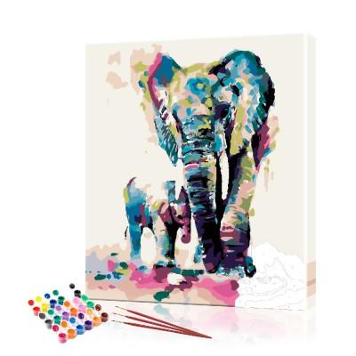 Картина по номерам Слоны на закате ArtSale размер 40х50 см