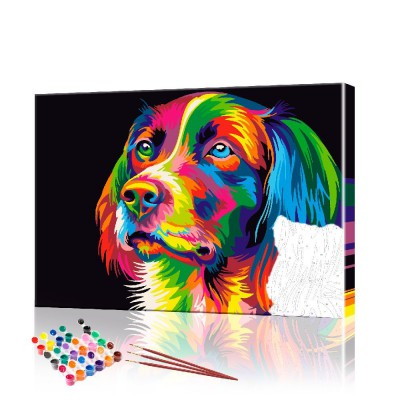 Картина по номерам Радужная собака ArtSale размер 40х50 см