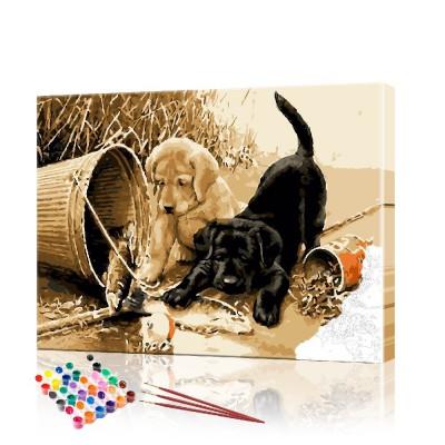 Картина по номерам Три щенка ArtSale размер 40х50 см