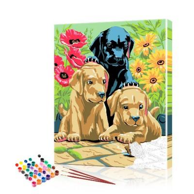 Картина по номерам Щенки играют с улиткой ArtSale размер 40х50 см