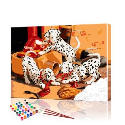 Картина по номерам Щенки долматина ArtSale размер 40х50 см