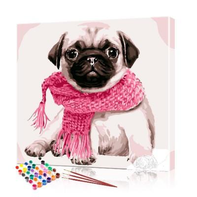 Картина по номерам Мопс в розовом шарфе ArtSale размер 40х40 см