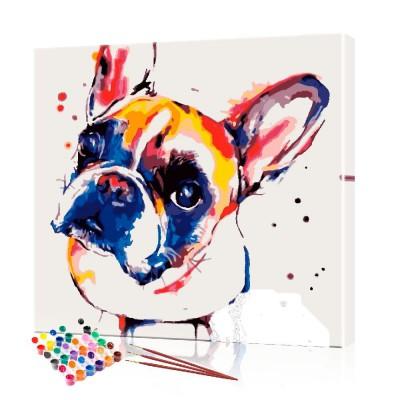 Картина по номерам Цветной бульдог ArtSale размер 40х40 см