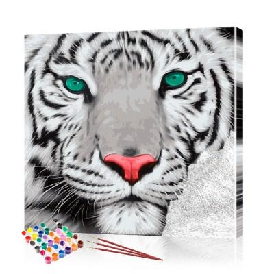 Картина по номерам Белый тигр ArtSale размер 40х40 см