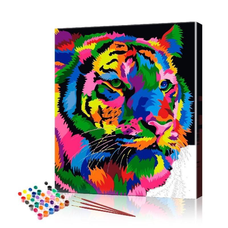 Картина по номерам Радужный тигр ArtSale размер 40х50 см