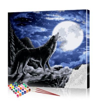 Картина по номерам Волк воет на луну ArtSale размер 40х40 см