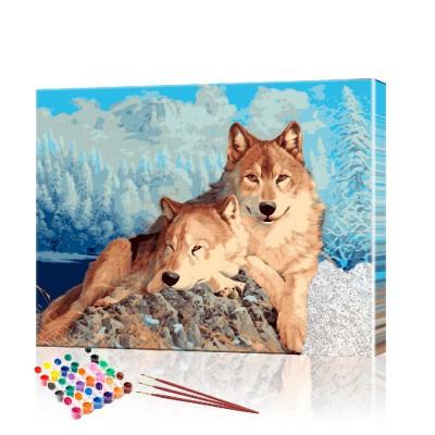 Картина по номерам Волки ArtSale размер 40х50 см