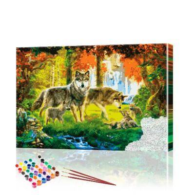 Картина по номерам Семья волков ArtSale размер 40х60 см