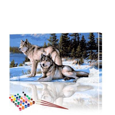Картина по номерам Волки в зимнем лесу ArtSale размер 40х70 см
