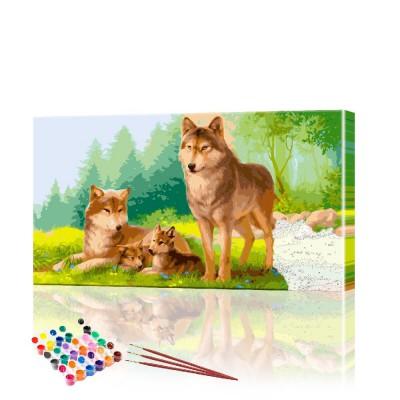 Картина по номерам Семья волков в лесу ArtSale размер 40х70 см