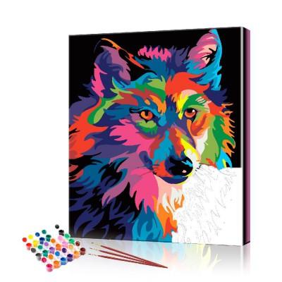 Картина по номерам Радужный волк ArtSale размер 40х50 см