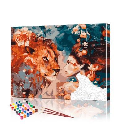Картина по номерам Девушка и лев ArtSale размер 40х50 см