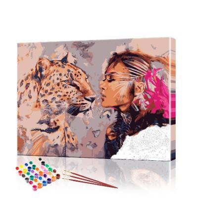Картина по номерам Девушка и ягуар ArtSale размер 40х50 см