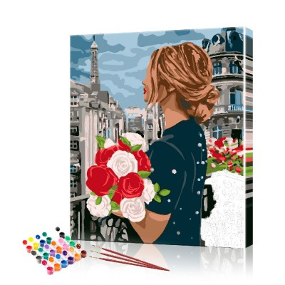 Картина по номерам Девушка с цветами ArtSale размер 40х50 см