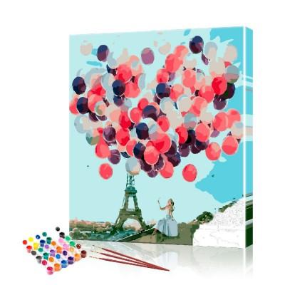 Картина по номерам Девушка в Париже ArtSale размер 40х50 см